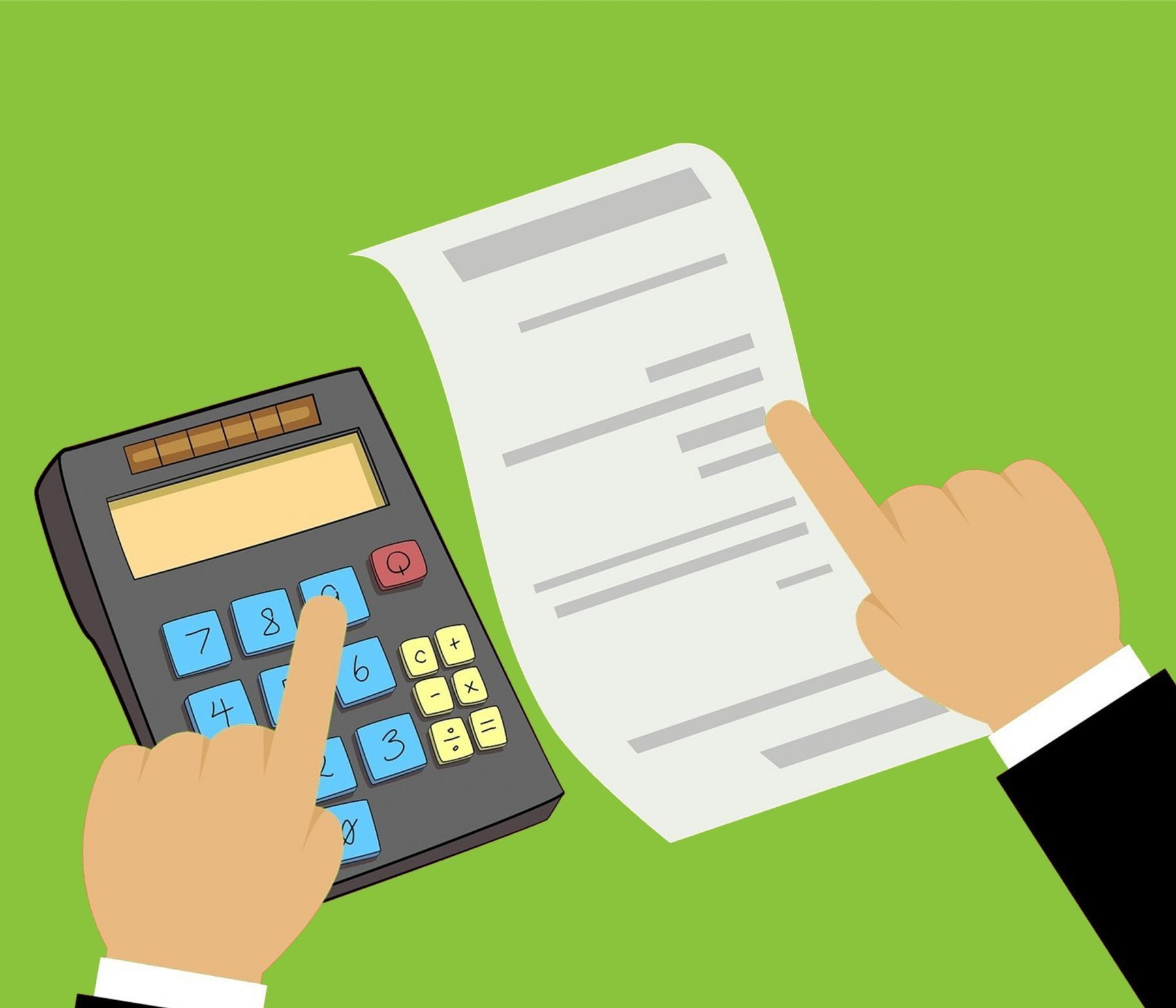 Illustration of one hand typing numbers into calculator and other hand pointing at written document or estimate to prepare quote