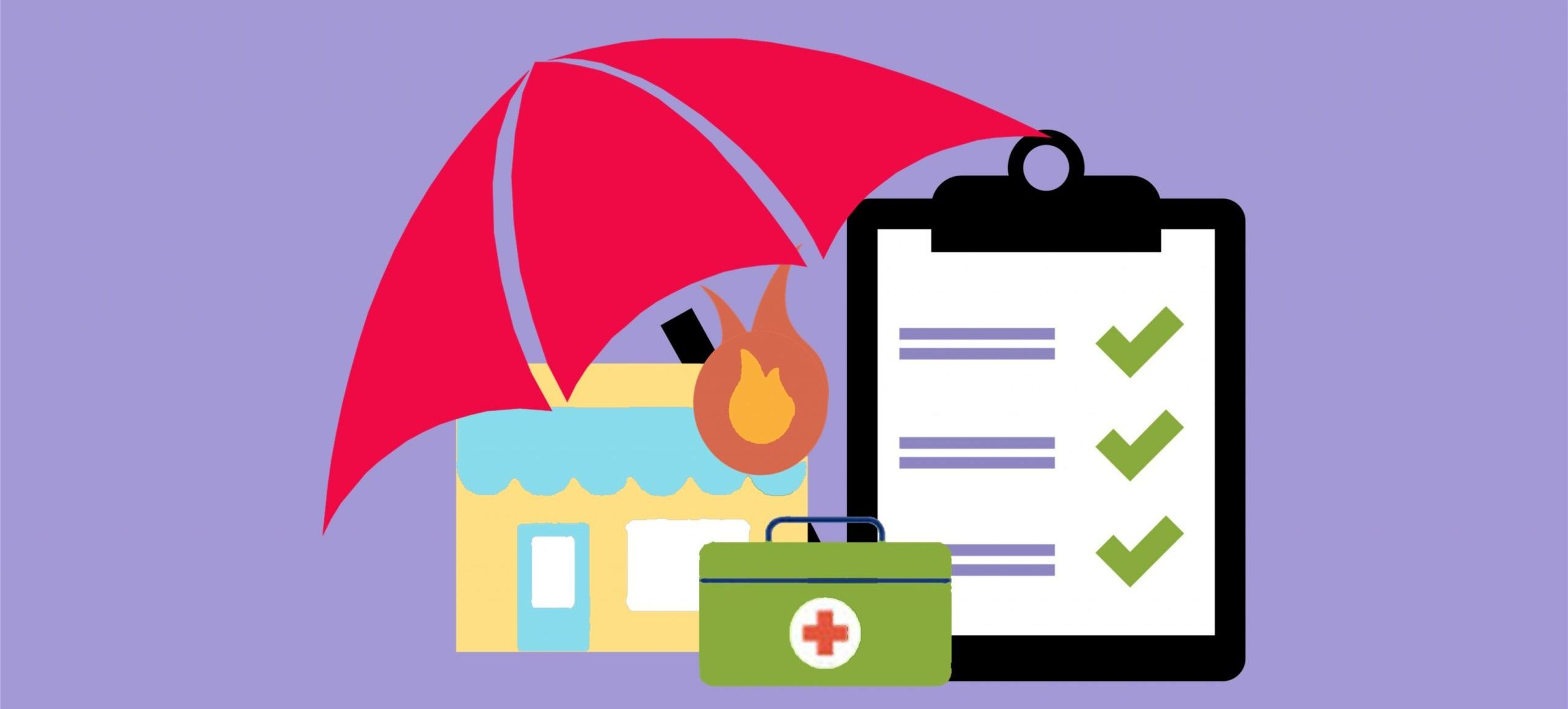 Illustration of umbrella over top of a building with a flame and a first aid kit beside a clipboard to indicate liability and workers' insurance