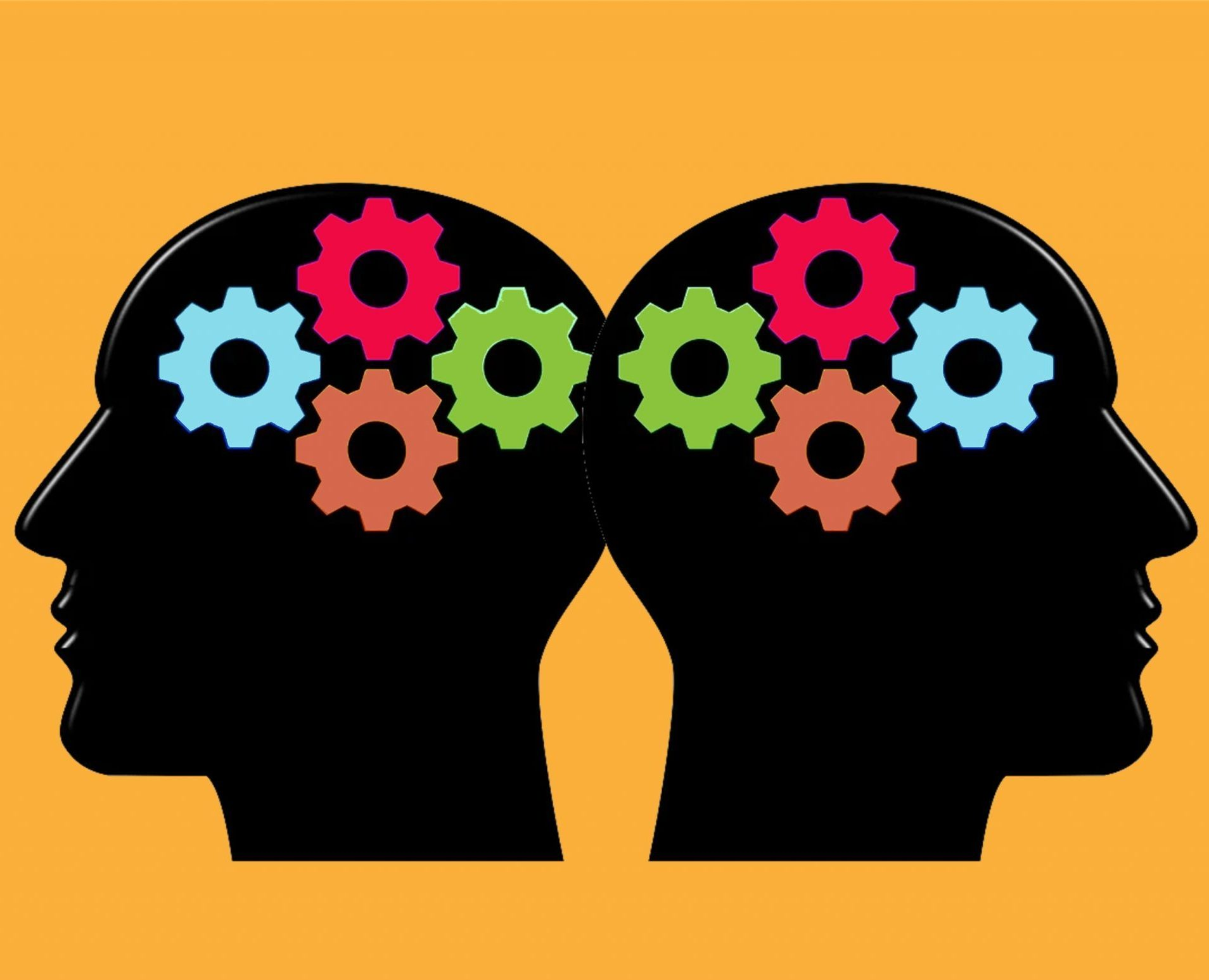 Illustration of 2 silhouette heads with coloured gears inside for knowledge and experience