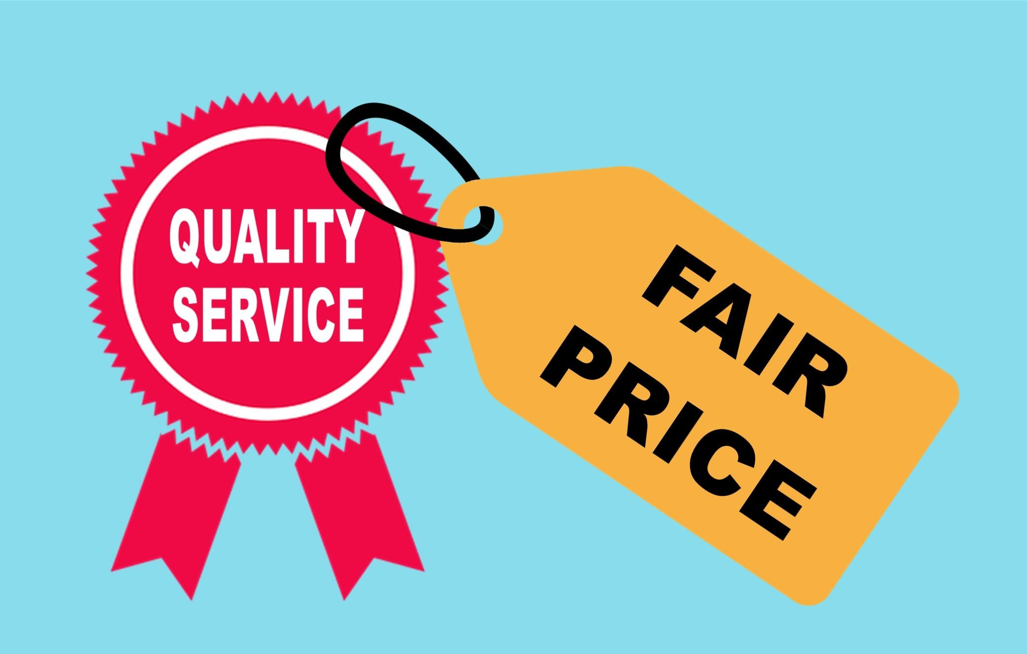 Illustration of red ribbon seal that says quality service with priced tag that says fair price