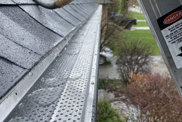 leaf guard system in eavestrough to help with soffit and fascia installation maintenance